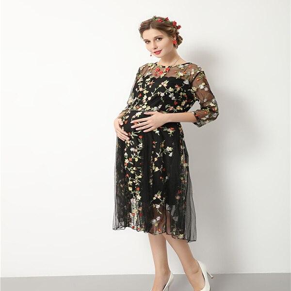 Осень-зима для беременных женская одежда Вечерние платья для беременных  плюс Размеры Беременность партии Кружево f75ed246cc5