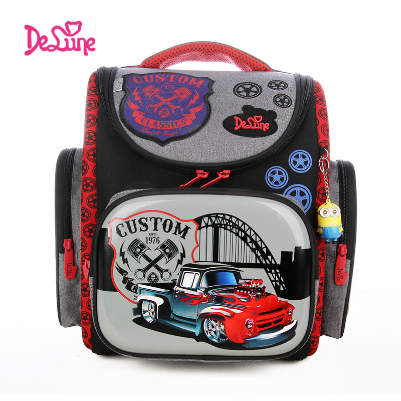 ФОТО 2017 Delune School Bags Children Backpacks Burden Reducing School Backpacks Nylon Material Cartoon Car Pattern Backpack For Boy