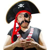 Sombrero de capitán pirata con calavera y Cruz, diseño de hueso, gorra de disfraz para vestido, fiesta, Halloween, poliéster, gran oferta, 2019