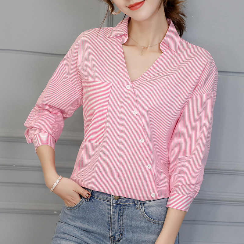 2019 Spring Summer Shirts New Women's Tops Fashion Korean Leisure Blouses Office Ladies Striped Long Sleeve V Neck Button Shirt