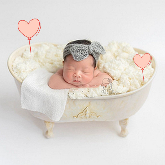 Fill With Water Iron Shower Baby Bathtub Newborn Photography Props Shooting  Bebe Bathtub Creative Lovely  Prop