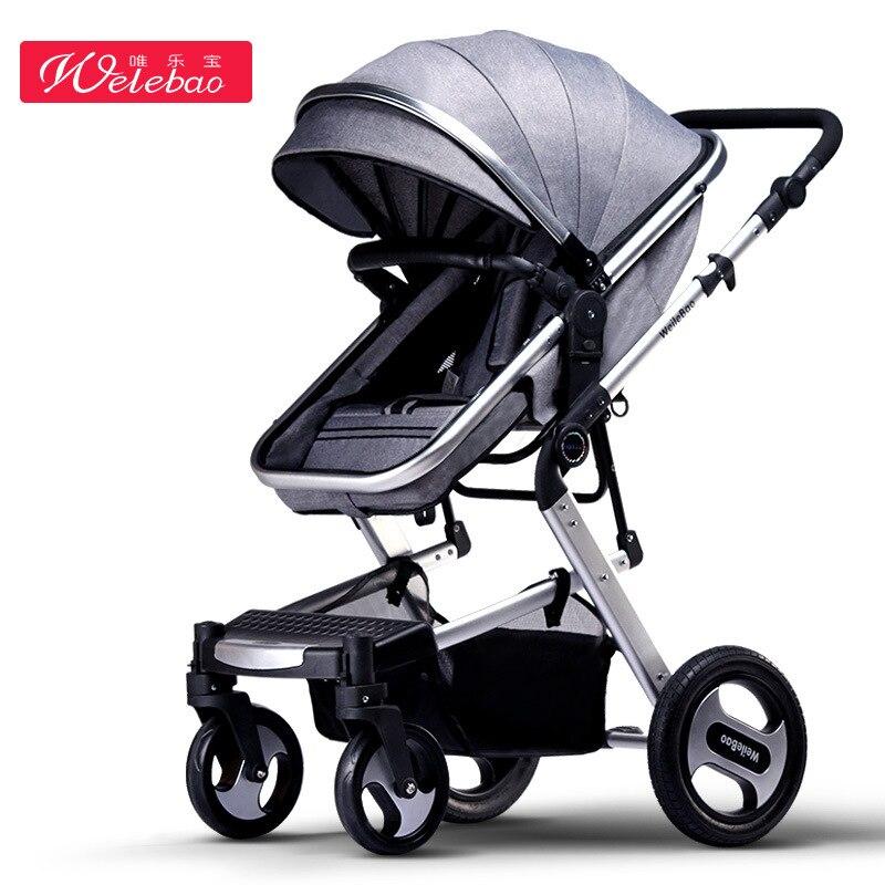 Bébé poussette haute paysage bébé poussette peut s'asseoir quatre roues amortisseur pliant bidirectionnel bb bébé enfant bébé poussette