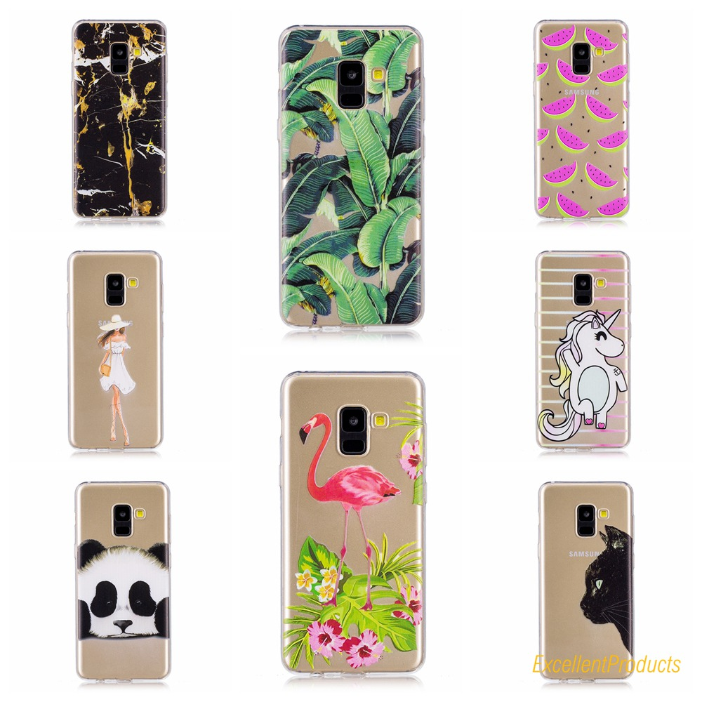 For Coque Samsung A7 2018 Soft TPU Cover Kawaii Cartoon Printed Silicone Cases For Samsung A7 2018 Phone case caso Capa