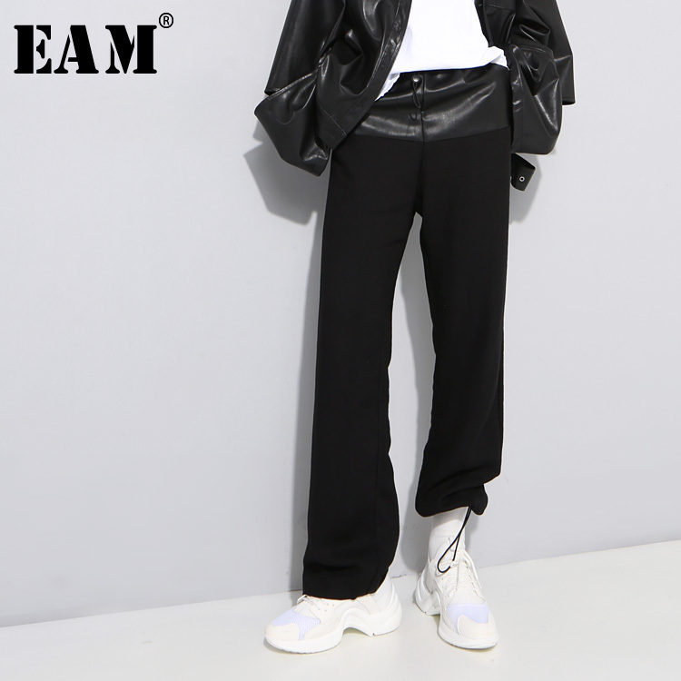 [EAM] 2018 Autumn New Fashion High Waist Black Solid Button Loose Big Size Casual Women Elastic Waist Wide Leg Pants RA08901 inc new solid deep black women s size 2 tapered leg two pocket pull on pants $69