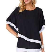 Large Size Chiffon Patchwork Irregular Blouse Casual Batwing O Neck 2019 Summer Women Shirts Plus Clothing