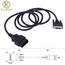 KWOKKER Universal OBD2 16Pin Male to 26Pin Female 180cm OBDII Adapter Car Connector Extension Cable Diagnostic Tool цена 2017