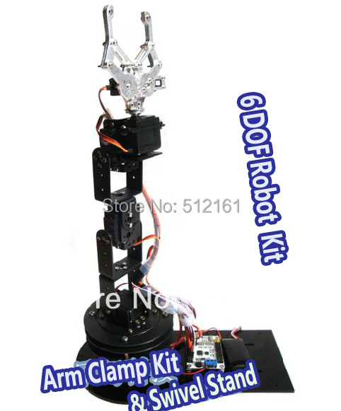 Alloy 6 DOF Robot Arm frame kits Clamp & Claw & Swivel Stand Mount Kit for Arduino