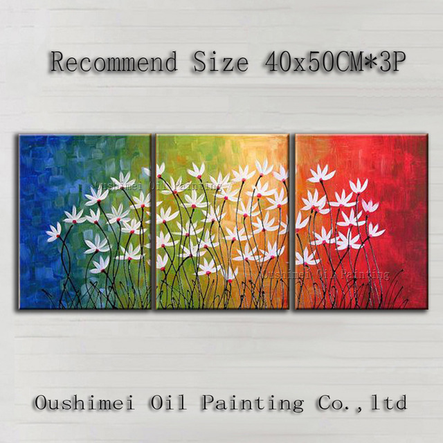 Fashion Designed High Quality Modern Abstract Flowers Oil Painting On Canvas Handmade Bright Colors Flower