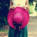 Бесплатная доставка пляж вс-затенения большой полями соломенной шляпе лук шляпа женщин летом пляж шляпы леди