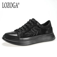 Lozoga Luxury Men Shoes Sneakers Genuine Leather Casual Shoes Original Brand Design Leaf embroidery Handmade high quality shoes