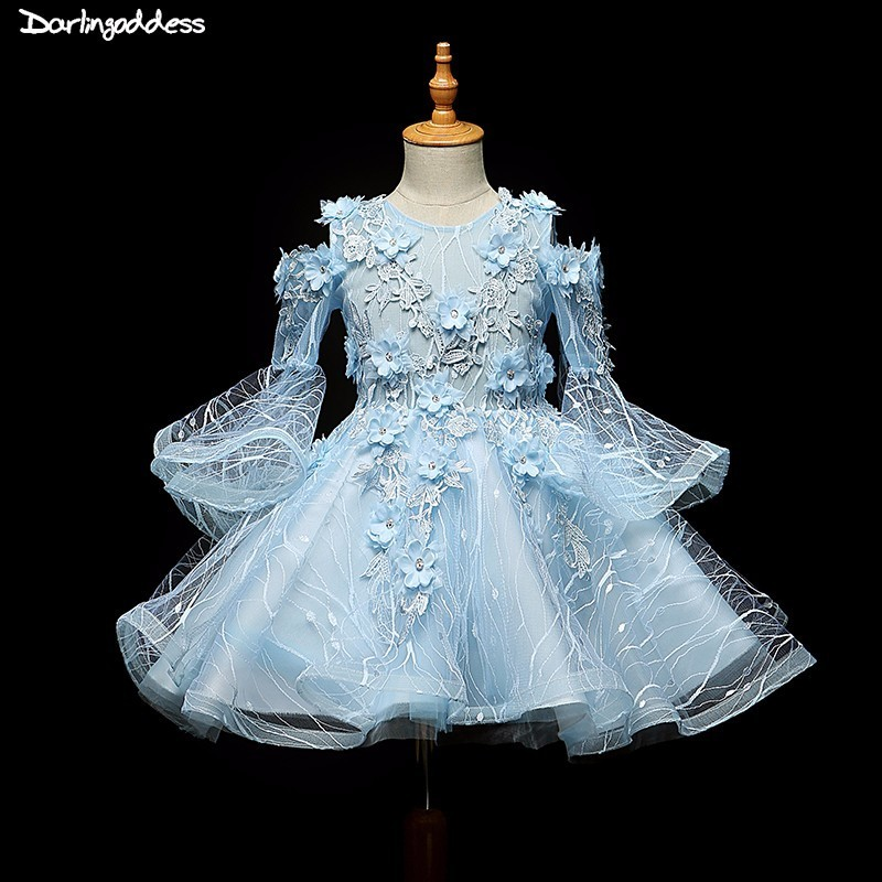 Flower     Girl     Dresses   for Weddings Ball Gown Blue Pageant   Dresses   for   Girls   First Communion   Dresses   2018 Party   Dress   for   Girls