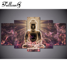 FULLCANG diamond painting buddha 5 pcs embroidery religious full square mosaic with rhinestone E1120