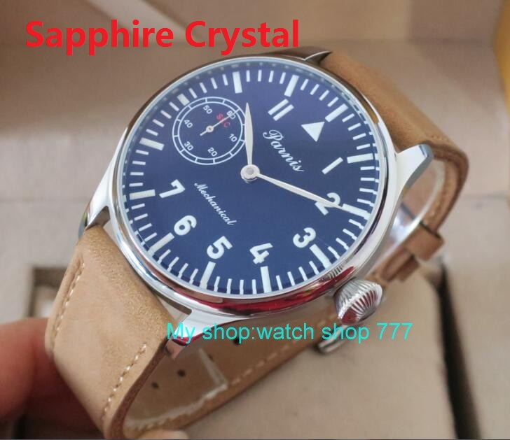 Sapphire crystal 2016 new fashion 44mm PARNIS 6497/3600 Mechanical Hand Wind movement  men