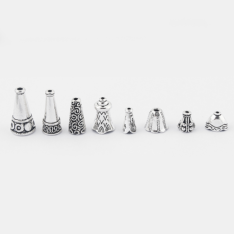 10pcs Fashion Jewelry Tibetan Silver Tassel Crimp Cap Stone Beads Cap Alloy End Beads Cap Metal Jewelry Accessories Findings