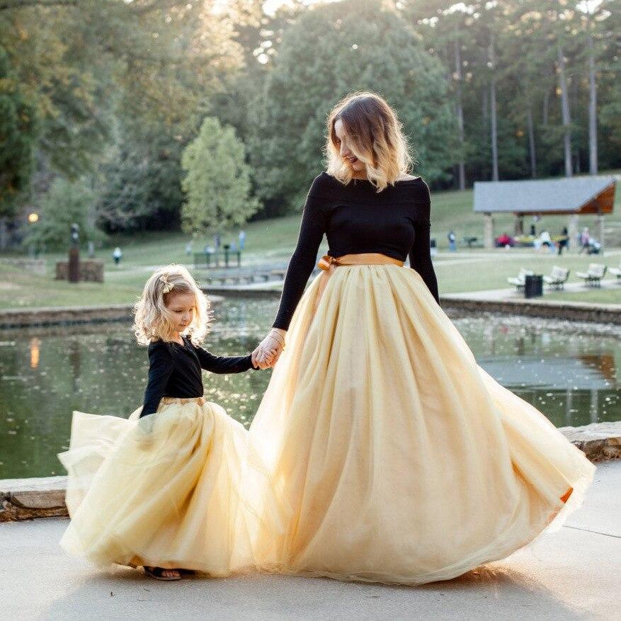 2020 Spring Summer Family Outfits Golden Lace Skirt For Mom & Me Toddler Girl Tutu Skirts Little Girl Solid Mesh Skirt Ball-down