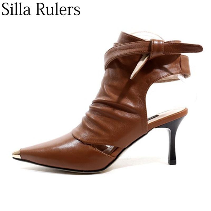 Ayakk.'ten Ayak Bileği Çizmeler'de 2019 bayanlar sivri burun yarım çizmeler ayak bileği kayışı yüksek topuk hakiki deri çizmeler kadın slingback metal ayak pist çizmeler kadın'da  Grup 1