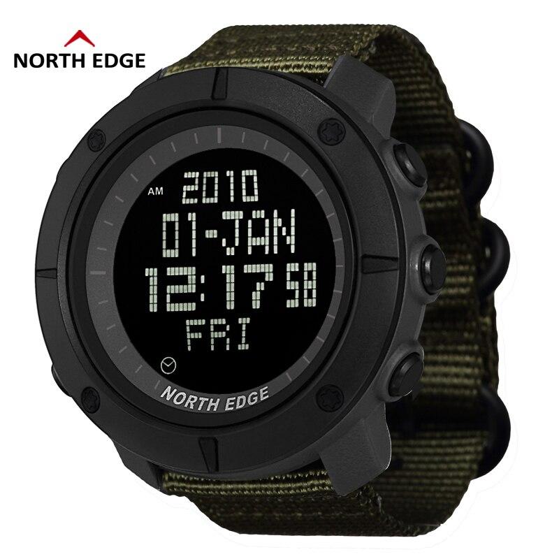 NORTH EDGE Digital Wristwtaches Waterproof Watch Black Clocks Analog Digital Watches Nylon Watchband LED reloj hombre Watches