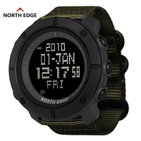 NORTH EDGE Digital Wristwtaches Waterproof Watch Black Clocks Analog Digital Watches Nylon Watchband LED reloj hombre Watches