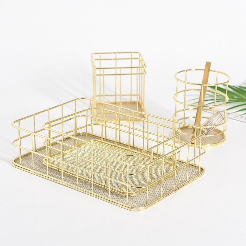 Nordic Rose Gold Metal Wire Storage Basket Office Desktop Sundries Makeup Brushes Holder Table Cosmetics Organizer Iron Basket