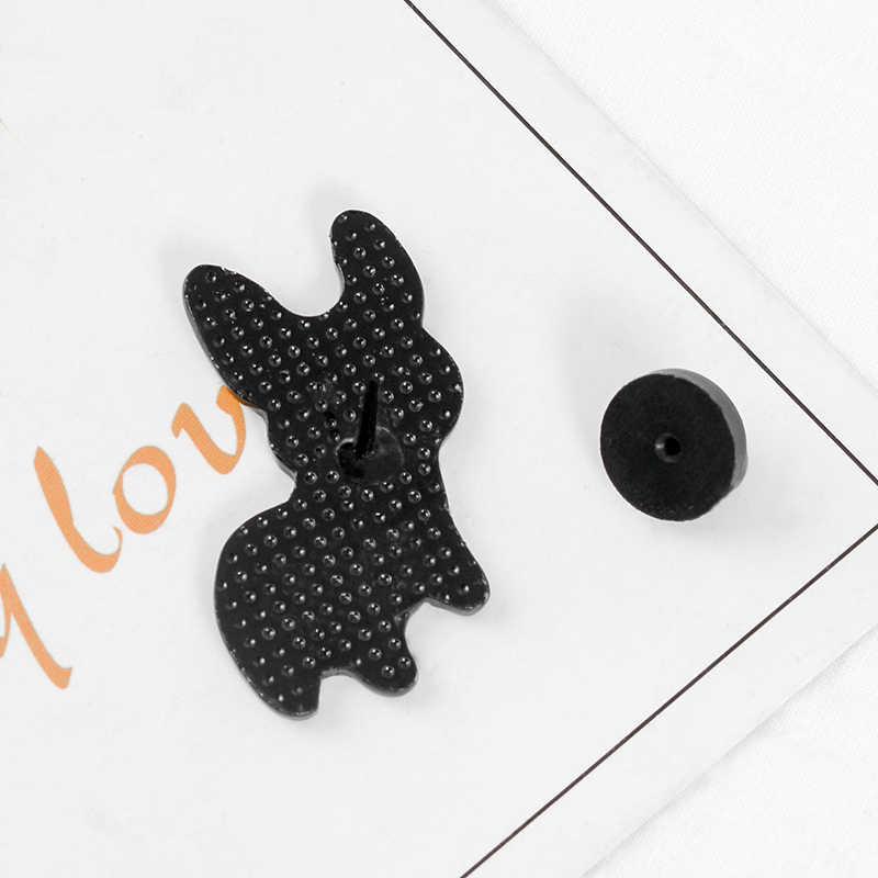 Корги шпильки бульдог металлические броши милые ювелирные изделия маленькая лапа черное сердце встык встали уши украшения значок для любителей животных
