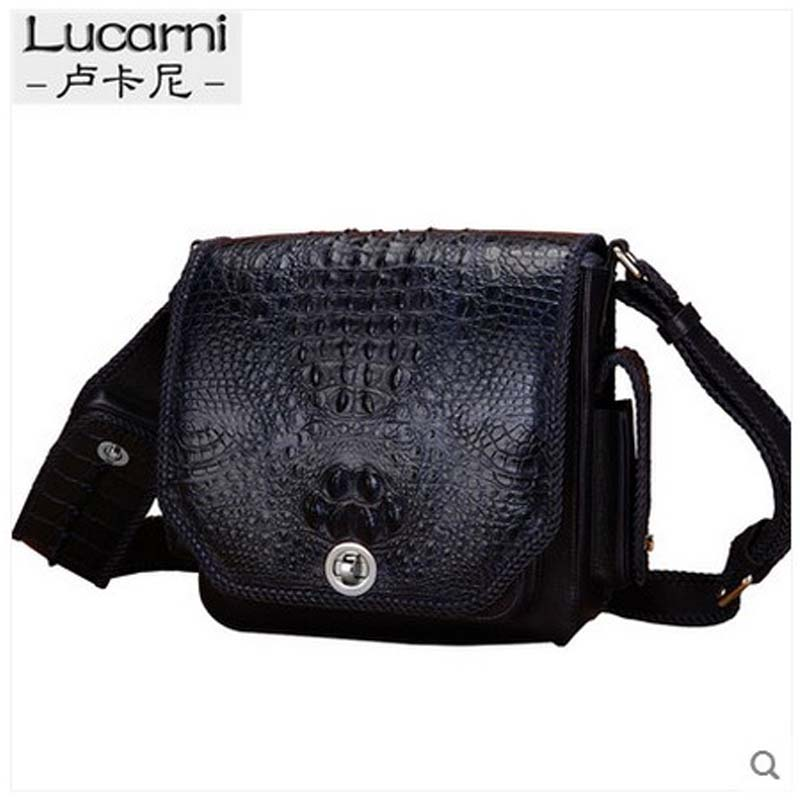 2c4cb864b51 lukani Crocodile leather man s single shoulder bag genuine leather slant  carrying multi function large capacity bag-in Shoulder Bags from Luggage    Bags on ...