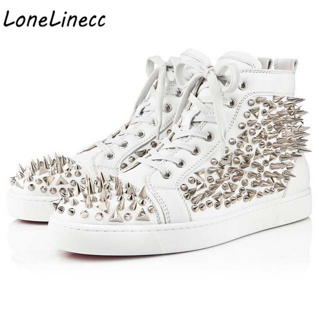 Lonelinecc Pic De Rivet Haut Homme as Pic white blanc Cuir as Black red as dessus En Chaussure gold Appartements Mode Noir Casuals Sneakers Hommes Chaussures Spike Pic Plein Air rzpIwr