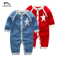 Winter autumn 2019 baby rompers knitting sweater jumpsuits stars red blue high quality girls boys romper long sleeve clothes