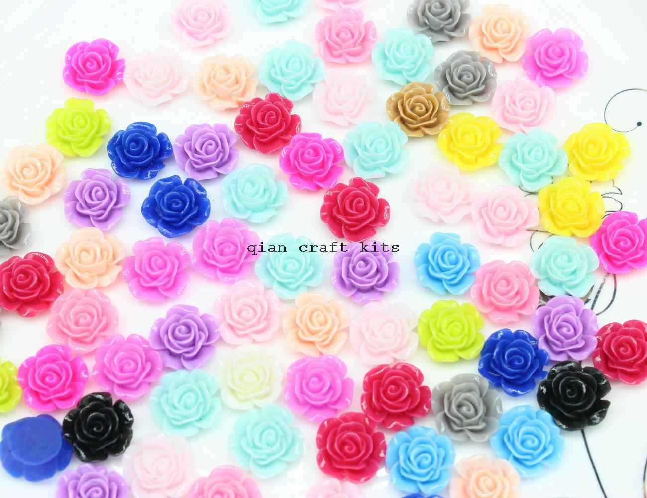 300pcs 15mm Resin Flower Embellishments - Jewelry Making Findings Cabochon Cameo ring, Earring ,pendant DIY hair bow
