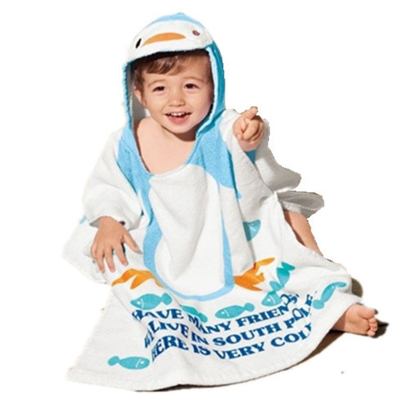 100% Cotton Children Bathrobes Baby Robes Kids Blanket Cloak Infant Hooded Home Wear beach Costume Child Robe Super-Cute T0018