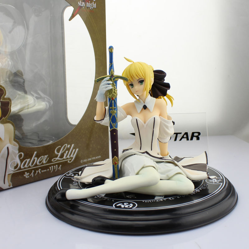 Free Shipping 5 Fate Stay Night FSN Anime Saber Lily Sit Ver. Boxed 13cm PVC Action Figure Collection Model Doll Toys Gift 9 5 fate stay night saber figure lily10th anniversary wedding dress regal robes boxed pvc action figure collection model