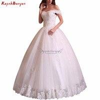 Off The Shoulder Lace up Wedding Dress Sequins Applique Lace Hem Tulle Vintage Bridal Gown Vestidos De Novia 2019