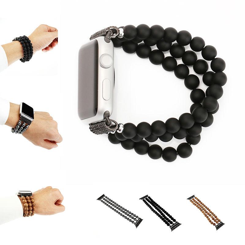 Prix pour URVOI bande pour apple watch série 1 2 de luxe bois/hematit conception avec spirale flexible cordon sangle pour iwatch de mode style poignet
