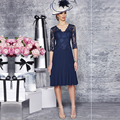 2016 Plus Size Navy Blue Mother of the Bride Lace Dresses Short Godmother Dress Knee Length V Neck Vestidos Women Evening Gowns