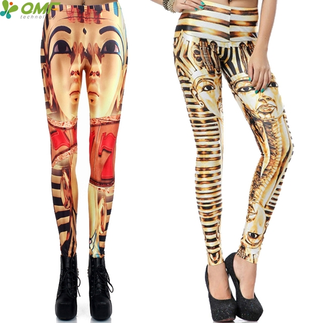 3D Pharaoh Egypt Print Female Yoga Pants Classical Vintage