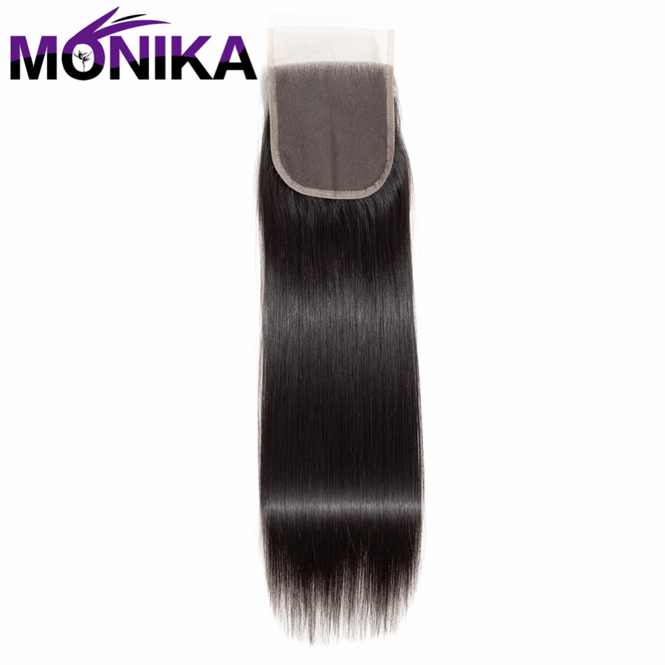 Monika Straight Hair Closure 4x4 Non Remy Human Hair Lace Closure With Baby Hair Natural Color