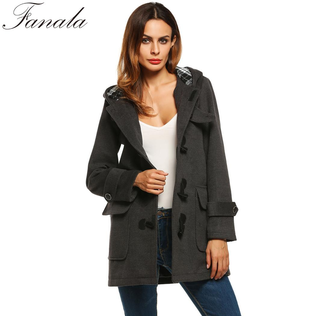 Solido dark Gray Lunghe Cappotto Modo Inverno Outwear Di Maniche Donne Black Blue Con A Cappuccio Duffle navy wPO0kN8nX