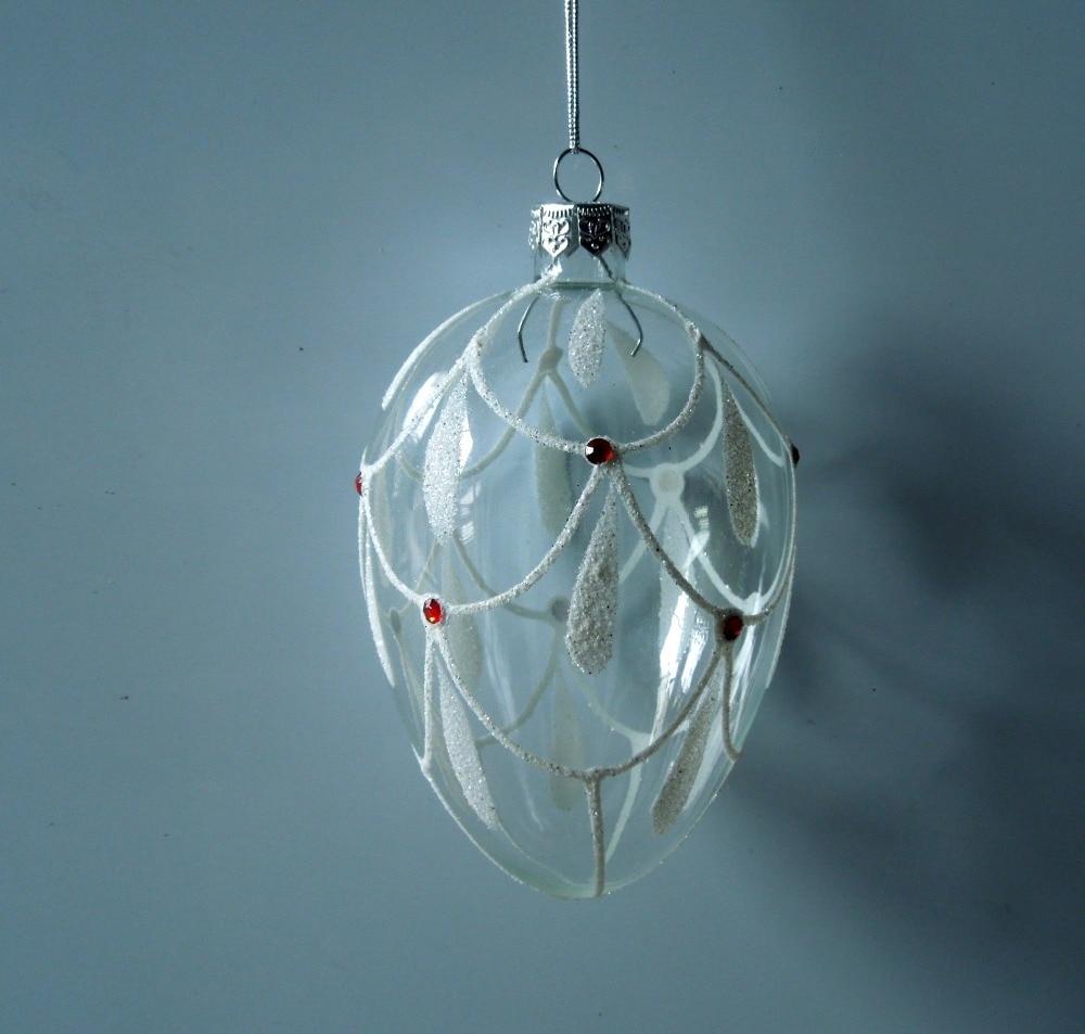1pc Egg Shape Christmas Ball White Color Gift 7cm X 11cm New Year Wedding  Festival Decoration