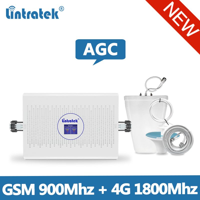 Lintretek 2019 NEW GSM 4G Repeater 900 1800Mhz Signal Booster GSM 900 Repeater 4G 1800 Ampli 4G 2G AGC Booster Dual Band 70dB