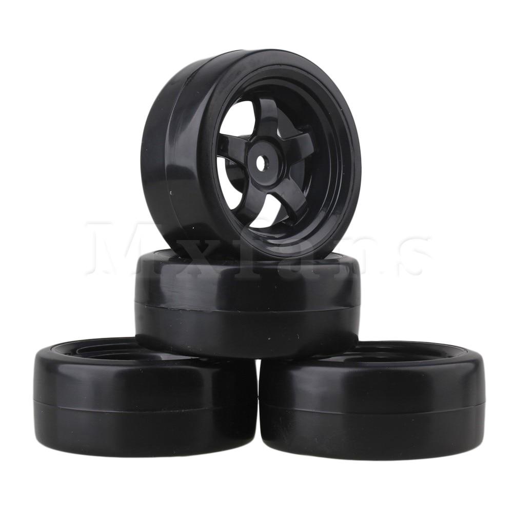 Mxfans 4pcs Black 5 Spoke Wheel Rims & Smooth Tires for RC 1:10 Drift Car Plastic mxfans rc 1 10 2 2 crawler car inflatable tires black alloy beadlock pack of 4