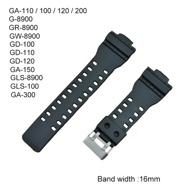 16mm Rubber Watchbands Men Black Sport Diving Silicone Watch Strap Band Metal Bu