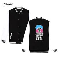 2018 Justin Bieber Jacket Women Uniform Baseball Jacket Coat Winter Casual Cotton Print ATHLETICS WEST D