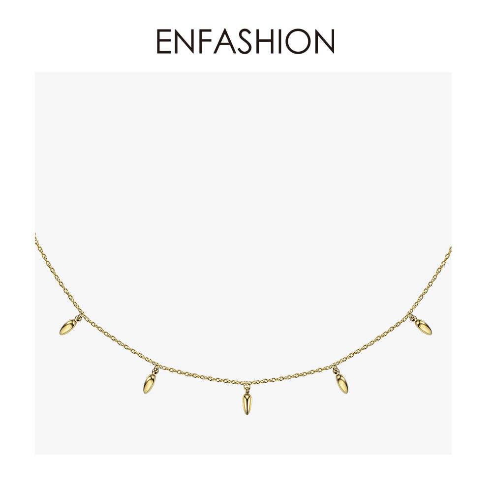 Enfashion pszenica Choker naszyjnik kobiety oświadczenie orzech sosnowy łańcuch naszyjniki złoty kolor Boho wakacje biżuteria Collier Femme PM193002
