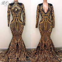 PEORCHID Women Mermaid Evening Dresses With Sleeves Dubai Vestidos De Noche 2019 Black Gold Prom Dress Arabic Sequin Formal Gown