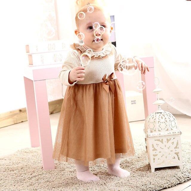 0-24M Natural colored cotton Newborn Baby Girl Dress Baby Clothing Dresses 1 year birthday dress vestido infantil