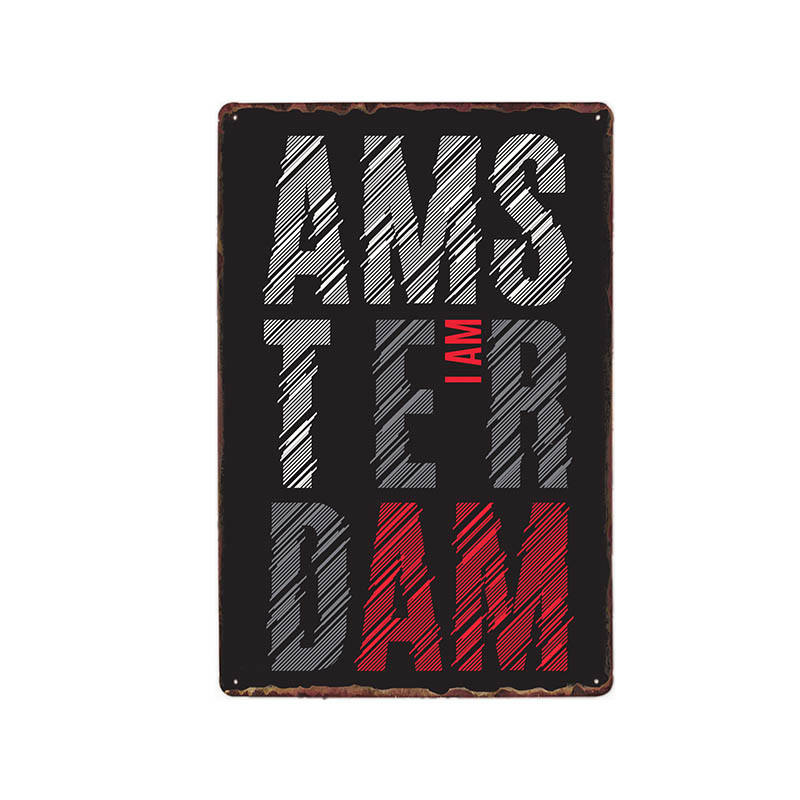 Netherlands Amsterdam Metal Tin Signs Vintage Plaque Wall Poster Beer Bar Coffee Cafe Decoration Home Decor 20x30 cm in Plaques Signs from Home Garden