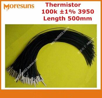 Fast Free ship 50pcs/lot NTC Temperature Sensor 100K 1% 3950 Copper Shell 5*25 200C L=500mm NTC Thermistor