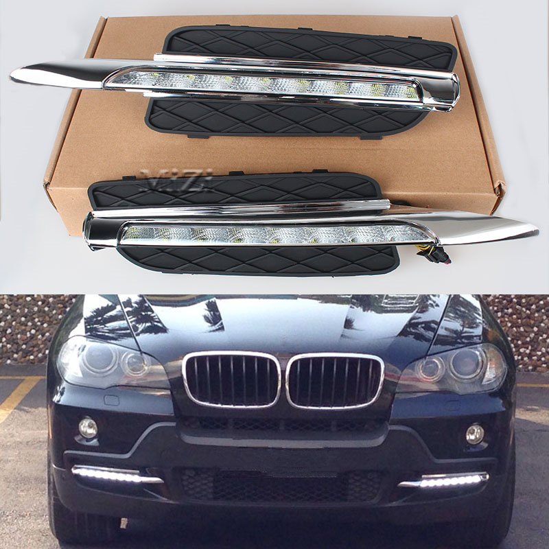 1Set 12V LED DRL Daytime Running Light For BMW X5 E70 2007-2010 Daylight Waterproof Bright Signal Lamp Car Styling Driving Light