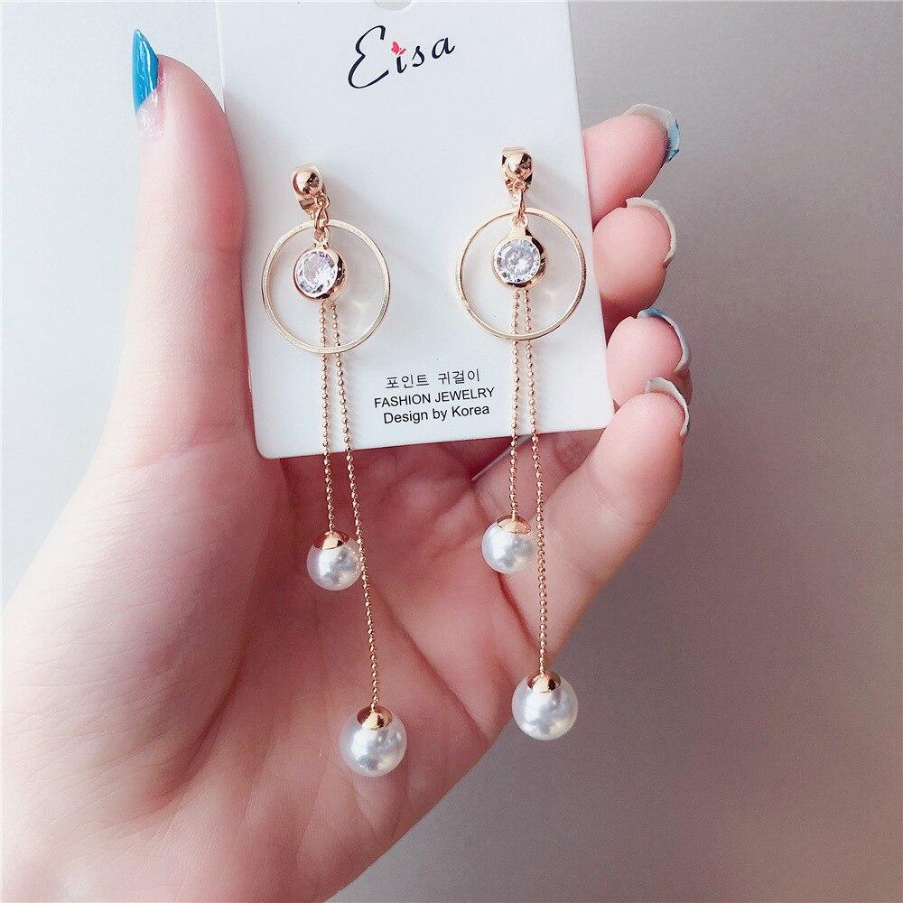100% Wahr Ethnische Metall Frauen Baumeln Ohrringe Persönlichkeit Perle Fransen Runde Lange Ohrringe Für Frauen Tropfen Ohrringe Böhmischen Ohrringe