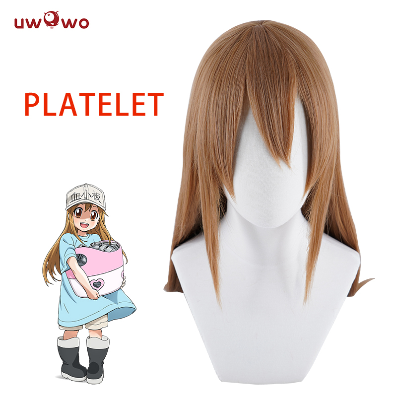 UWOWO Platelet Cells At Work Cosplay Wig Platelet 80 CM Brown Heat Resistant Synthetic Hair Cells At Work Cosplay Hair Women
