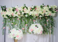 SPR 2018 2m/pcs more desens wedding arch flower table runner flower wall stage backdrop decorative artificial flower wholesale